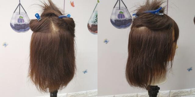 上下に分けた髪の毛