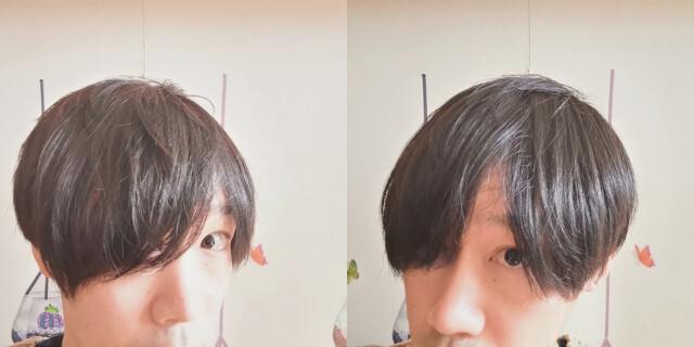 寝ぐせを直した髪