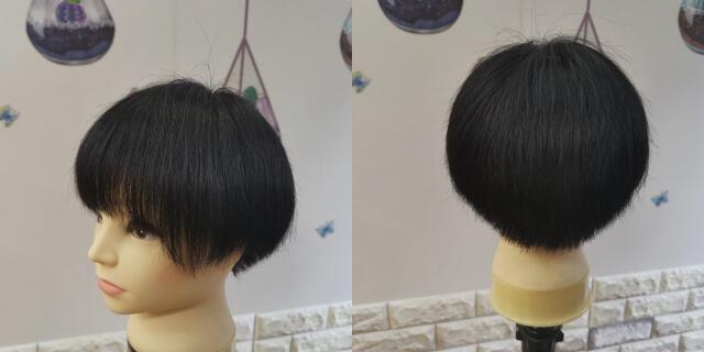 黒染めしたブリーチ毛