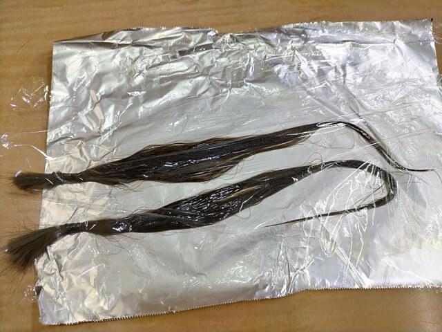 髪質改善トリートメント中の髪の毛
