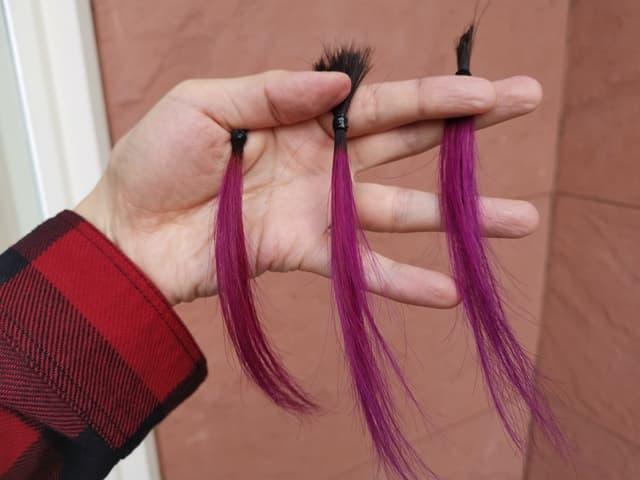 カラーバターで染めた3つの髪屋外