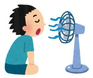 扇風機を使う男性のイラスト
